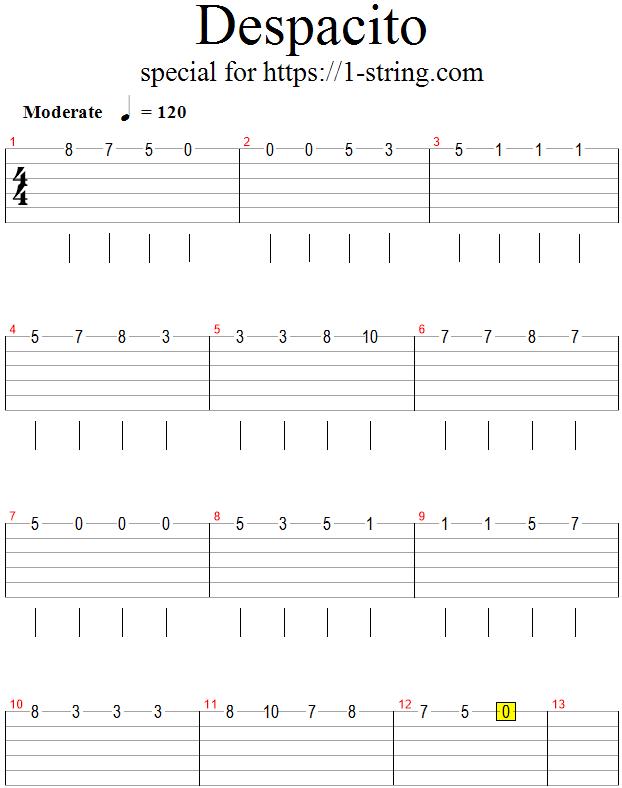 Despacito On A Single Guitar String Tabs