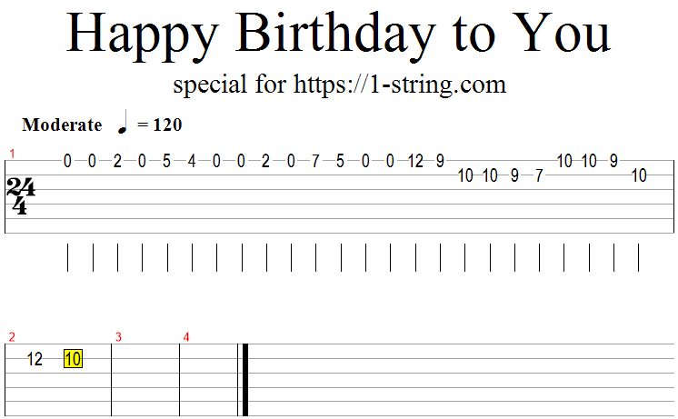 Happy Birthday To You On A Single Guitar String Tabs