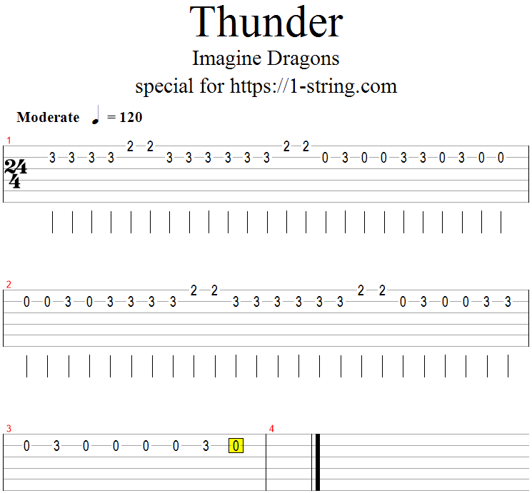 Imagine Dragons - Thunder on a Single Guitar String + Tabs
