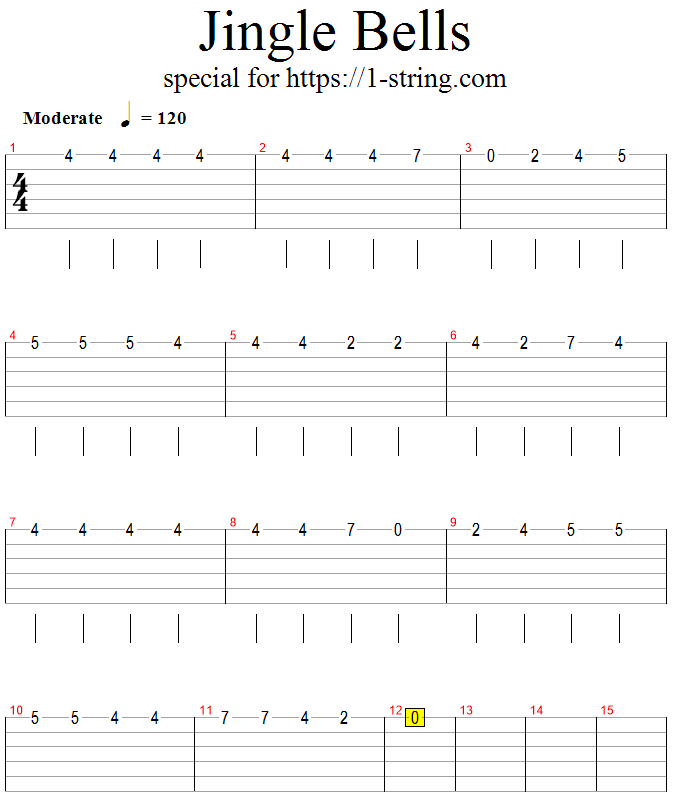 jingle bells one string guitar tabs