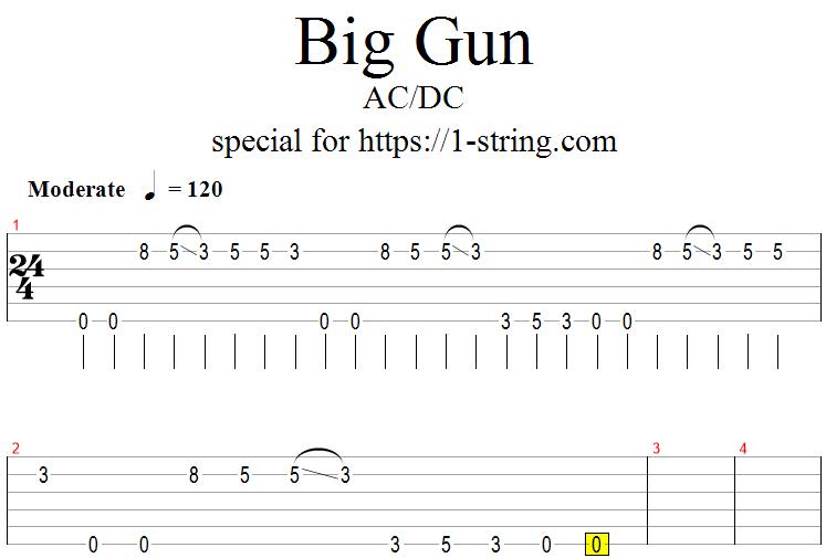 AC/DC - Big Gun one string guitar tabs