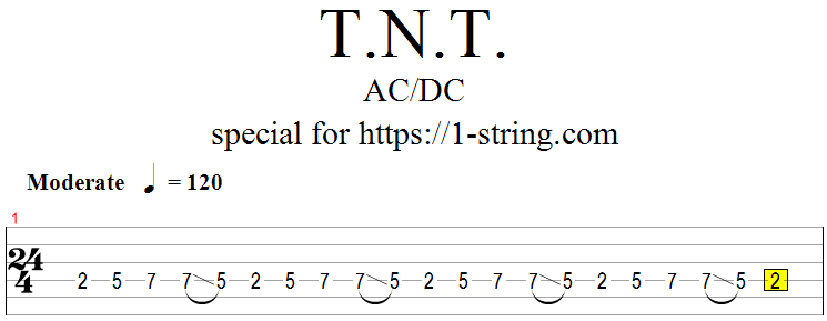 AC/DC - T.N.T. tabs for one string