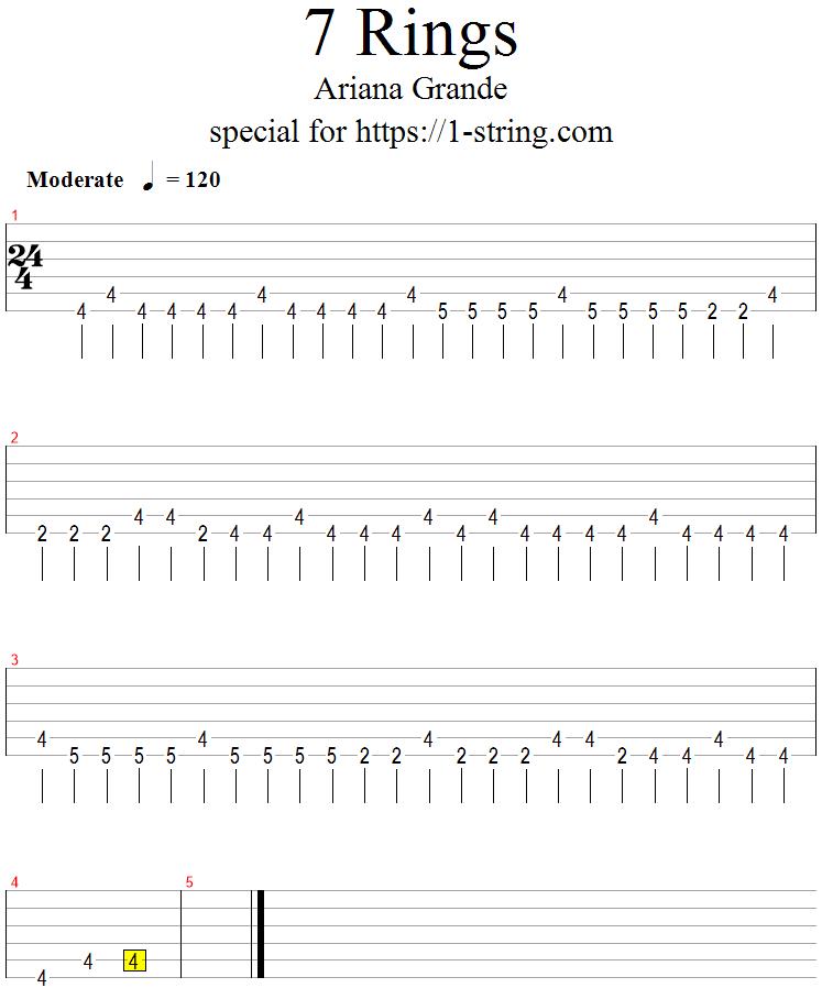 ariana grande - 7 rings one string guitar tabs