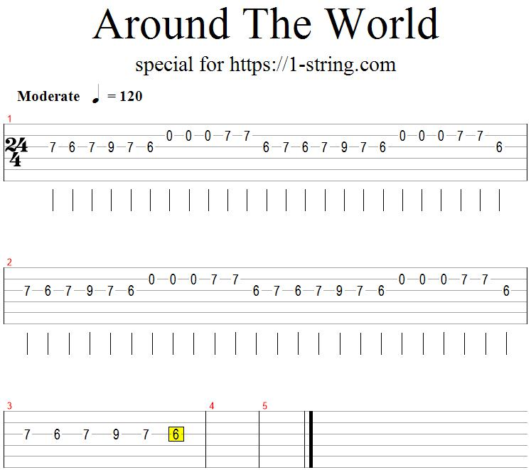 around the world one string guitar tabs
