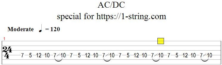 tabs one string ac/dc-can't stop rock'n'roll