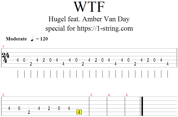 hugel wtf tabs for one guitar string