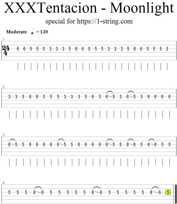 xxxtentacion moonlight guitar one string tabs