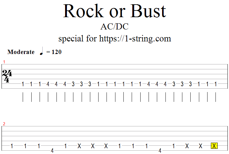 AC/DC - Rock Or Bust tabs for one string