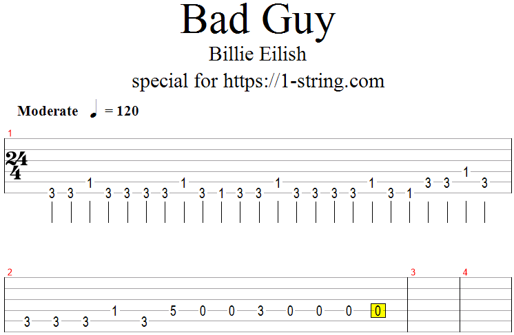 Billie Eilish - bad guy tabs for one guitar string