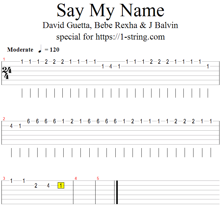 David Guetta - Say My Name on One Guitar String + Tabs, Lesson