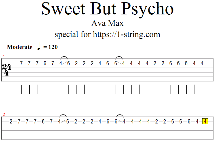 Ava Max - Sweet But Psycho tabs for one string
