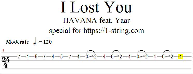 Havana - I Lost You tabs for one string
